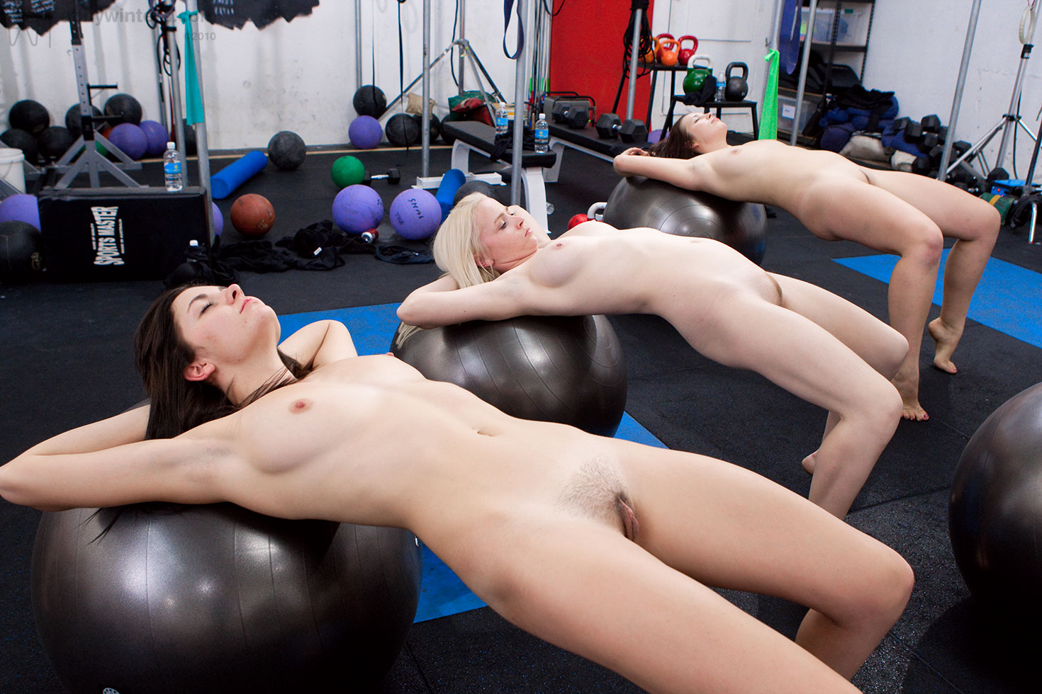 females working out naked