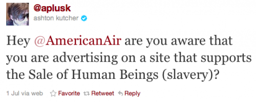 Kutcher shames American Airlines